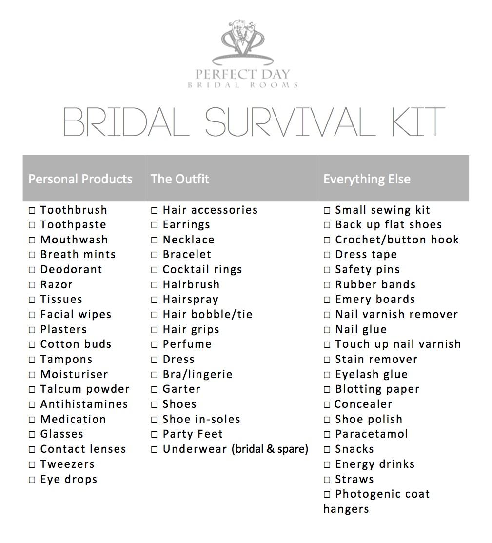 Bridal Survival Kit Perfect Day