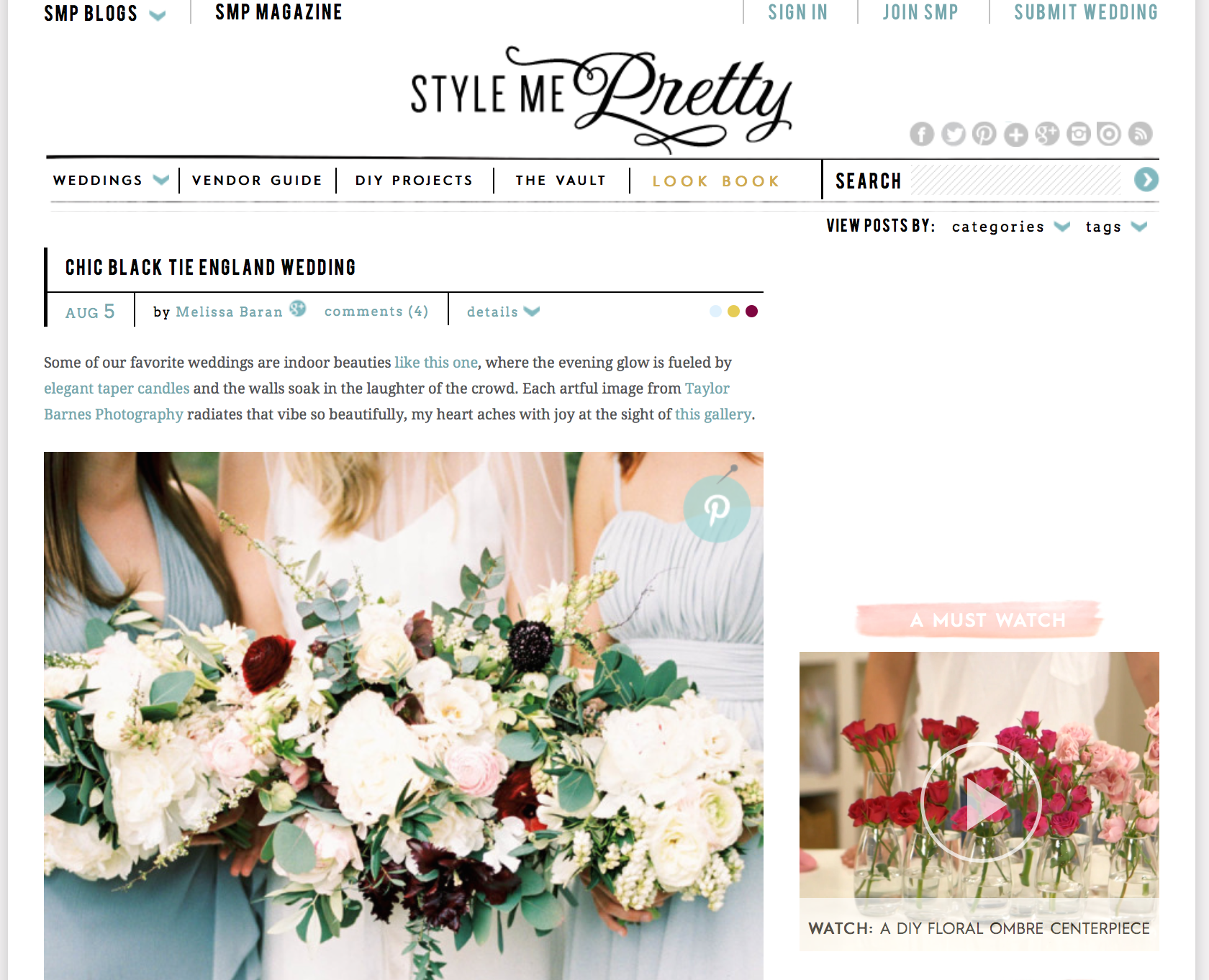 Our Bride Erin on Style Me Pretty